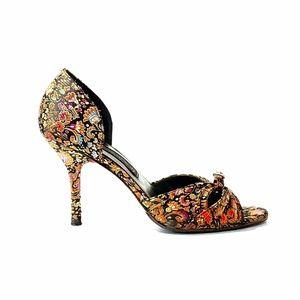 Steven By Steve Madden Floral Tapestry Heels S 7